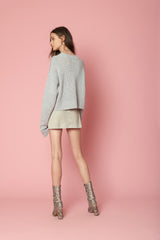 MERCY SEQUINED CASHMERE PULLOVER | GREY