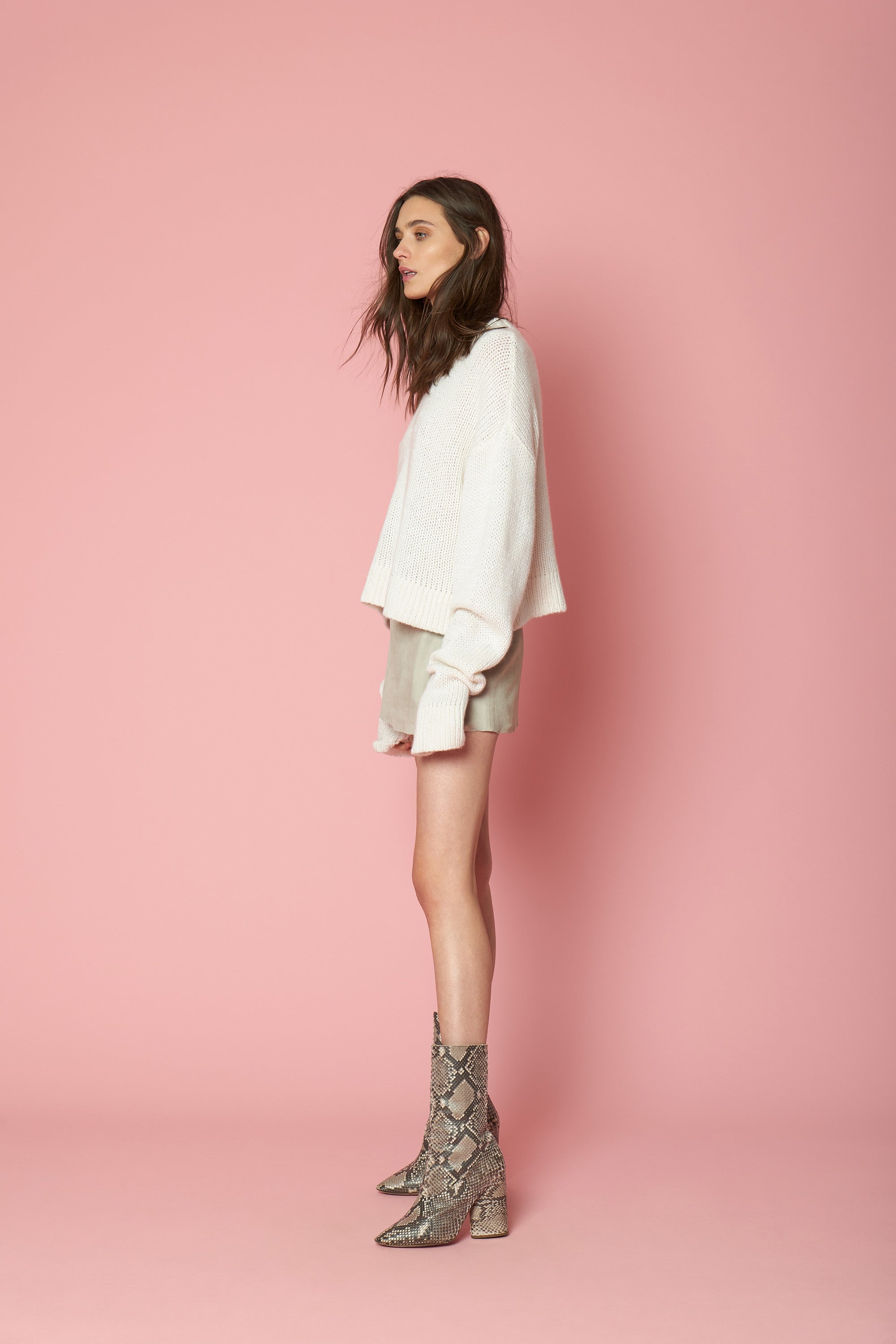 MERCY SEQUINED CASHMERE PULLOVER | MILK - FINAL SALE