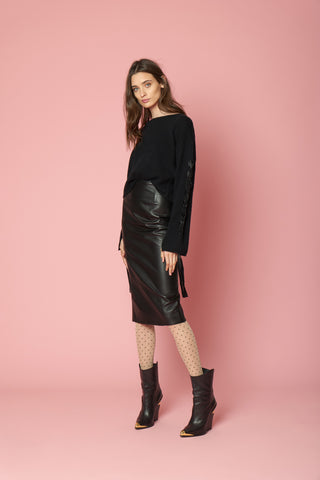 RACHELL LEATHER SKIRT | BLACK