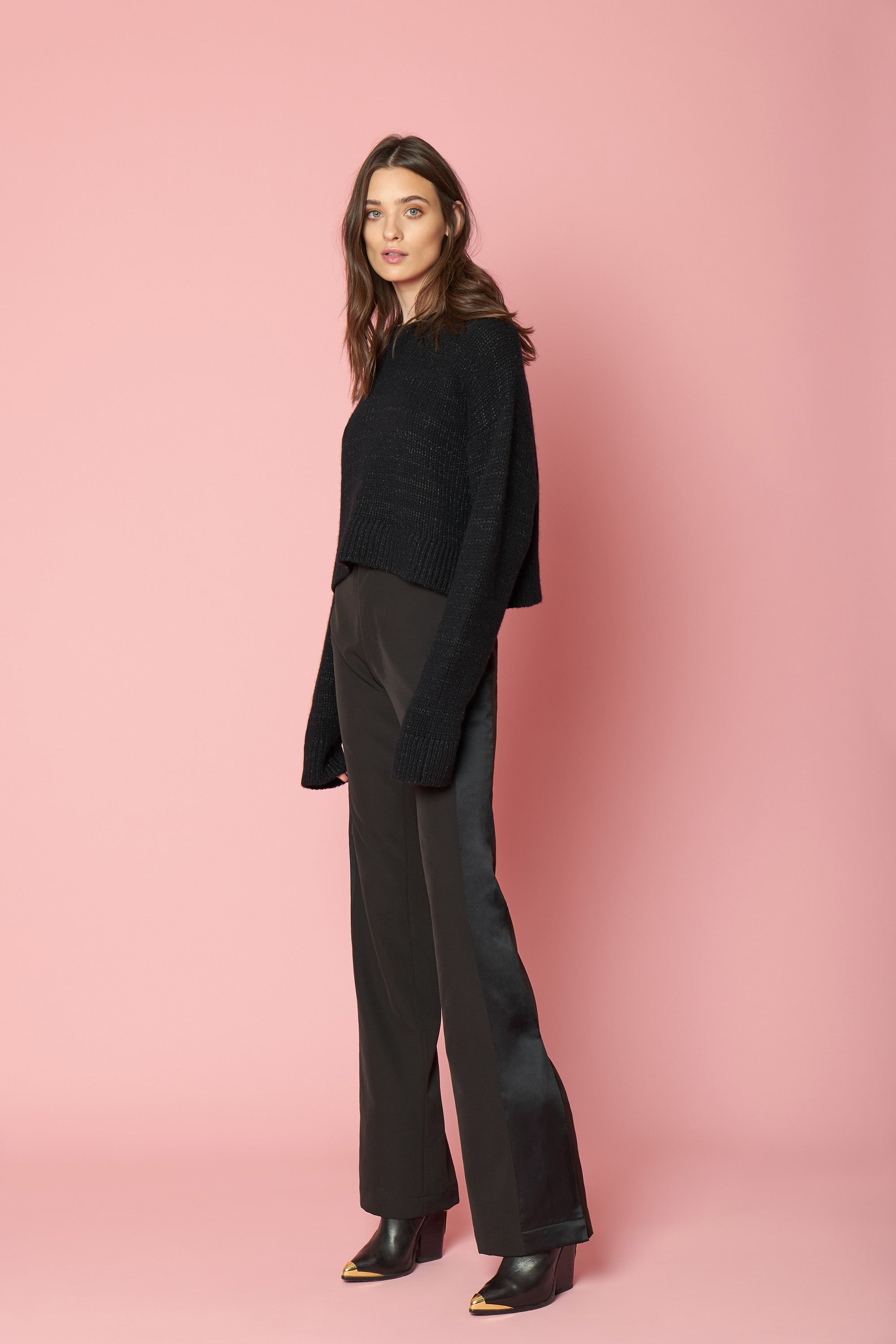 MERCY SEQUINED CASHMERE PULLOVER | BLACK
