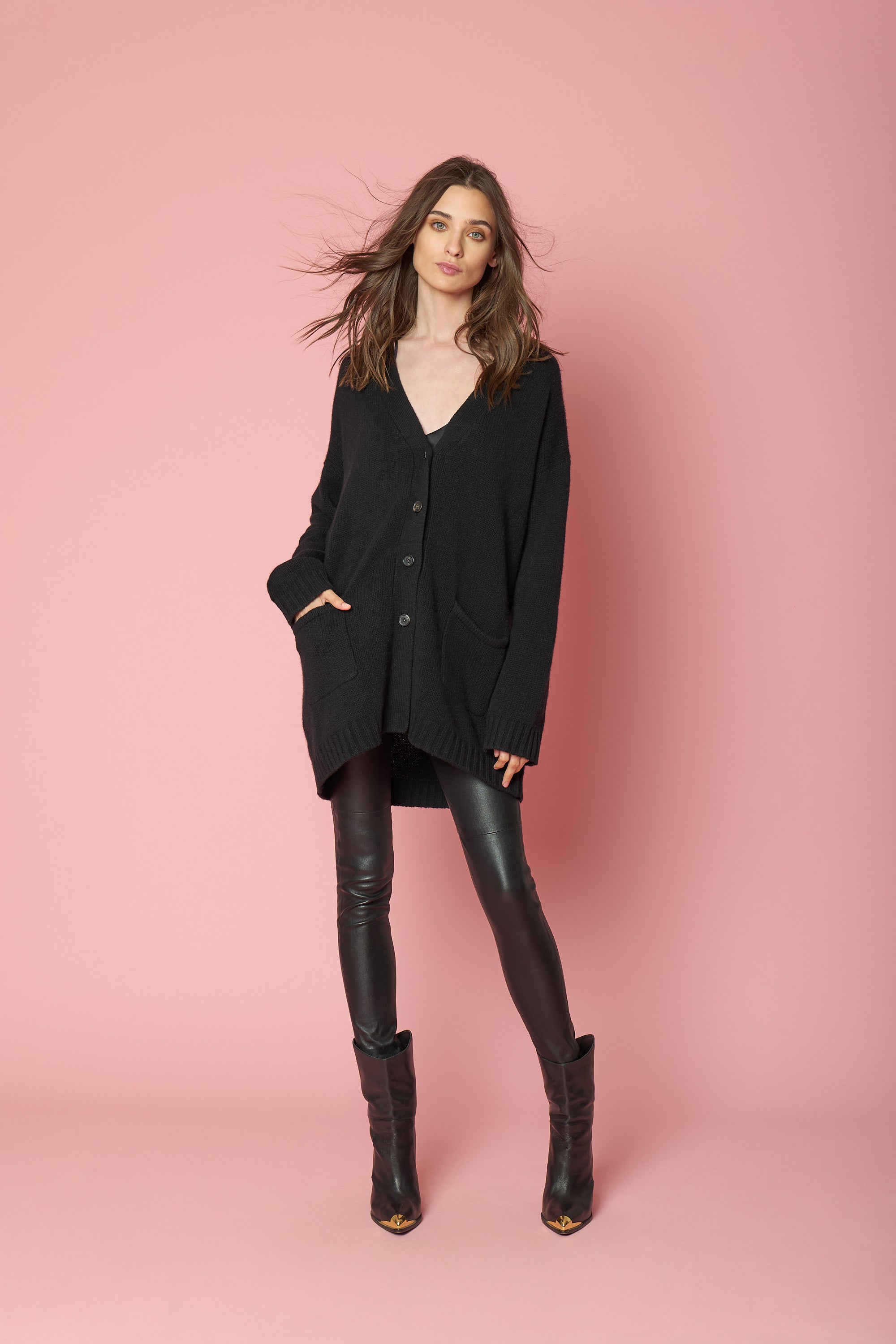LILY CASHMERE CARDIGAN | BLACK