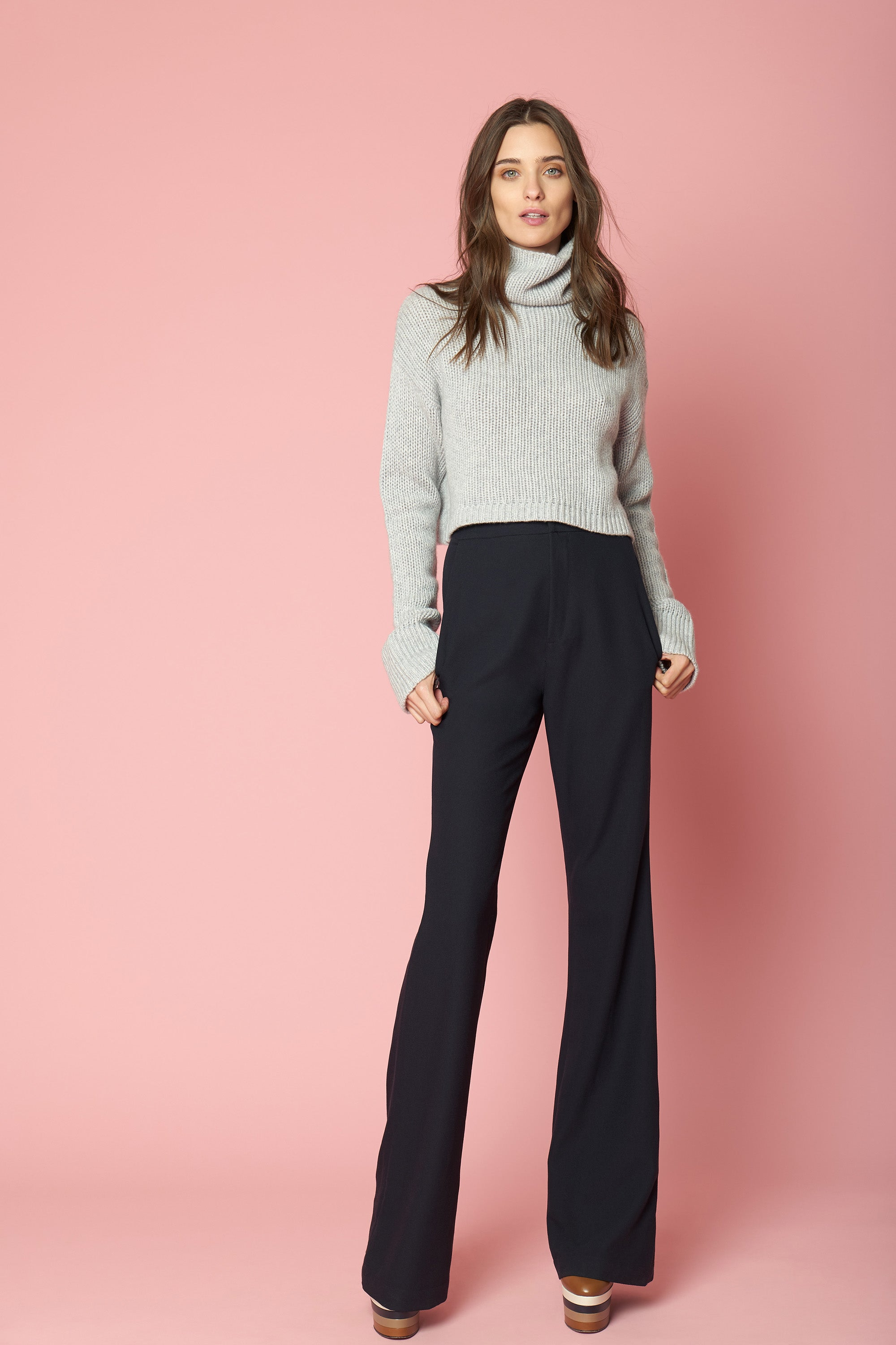 SHAY CROPPED CASHMERE TURTLENECK | GREY