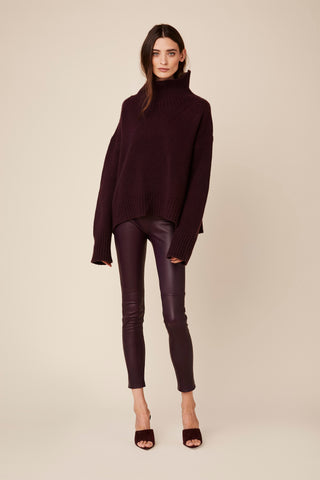 JESSICA HIGH WAISTED LEGGING | BORDEAUX LEATHER