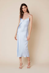TAYLOR SILK DRESS | AZURE