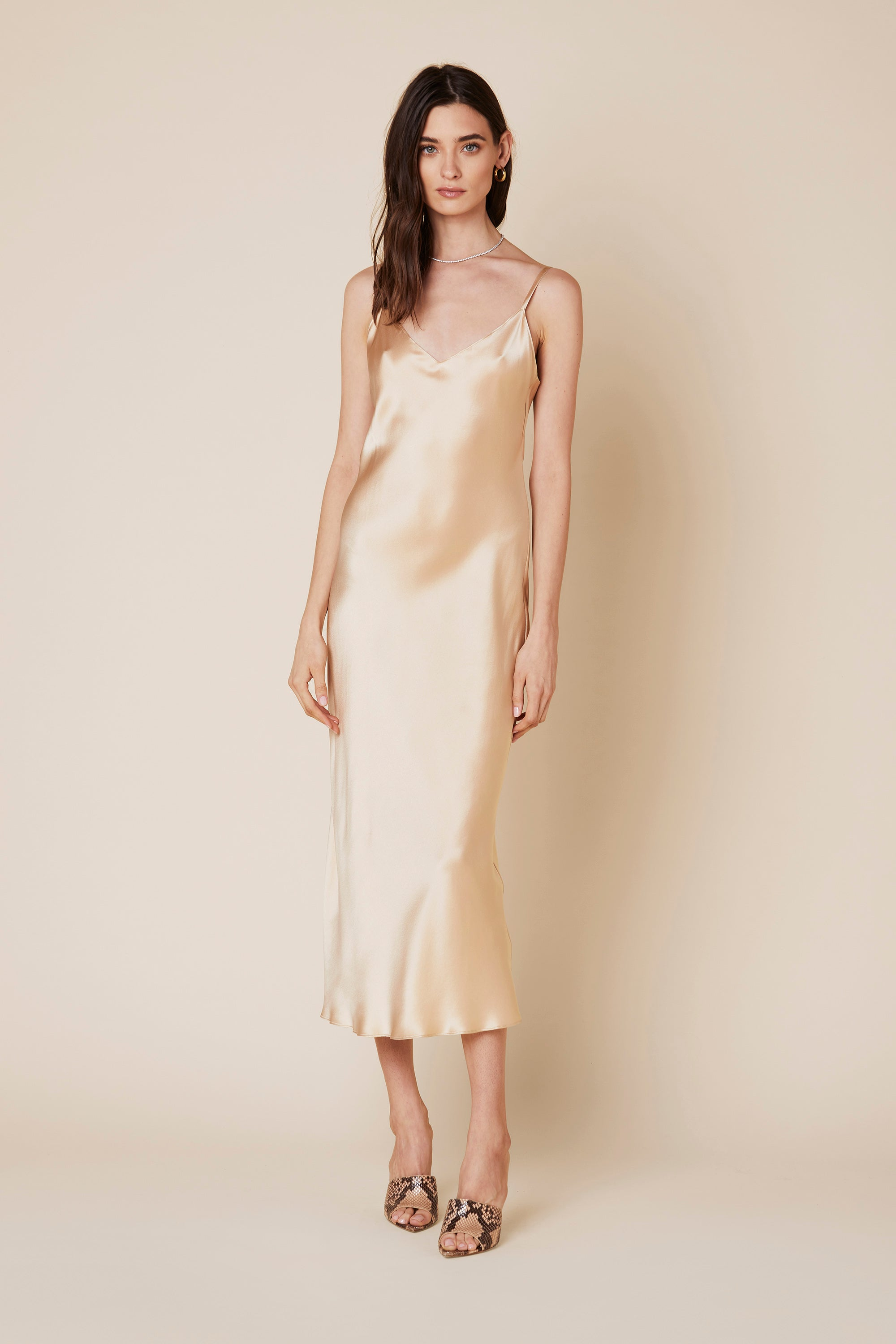 TAYLOR SILK DRESS | FAWN - Final Sale