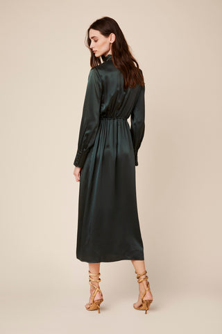 THEODORE LONG SILK DRESS  | HUNTER GREEN