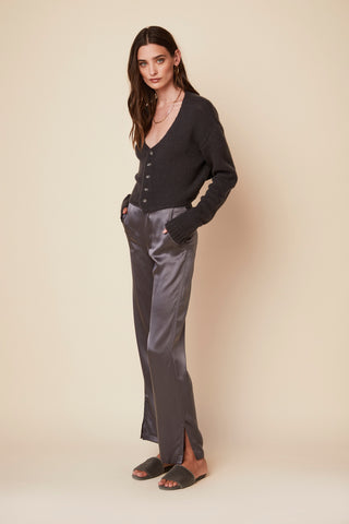 BENJAMIN SILK PANT WITH SLIT | STONE