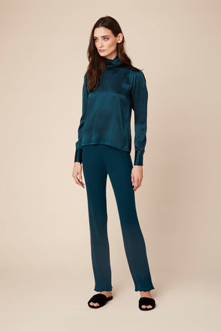 SUTTON TURTLENECK SILK BLOUSE | TOPAZ