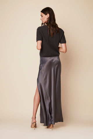 ISABELLA SILK SKIRT | STONE - Final Sale