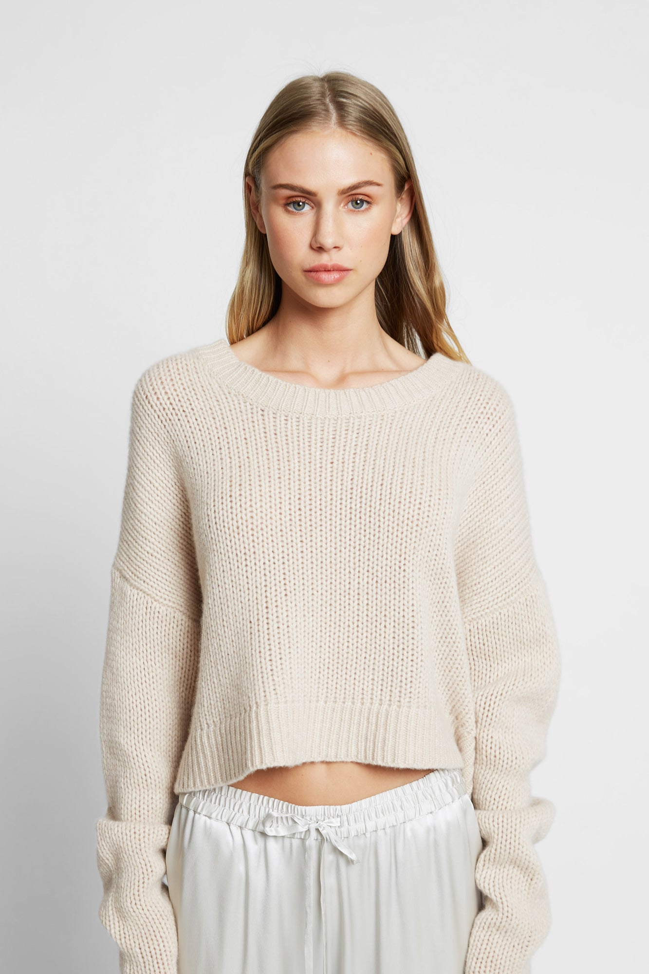 MERCY CROPPED CHUNKY SWEATER | OATMEAL