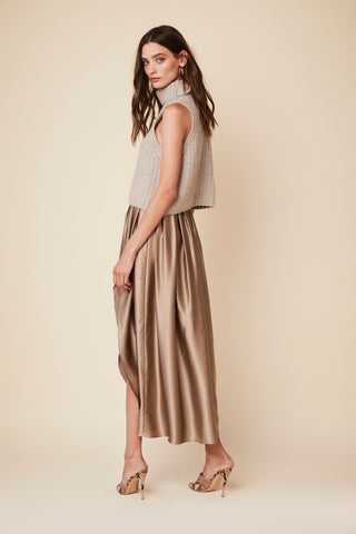 MASHA SILK SKIRT | NUTMEG