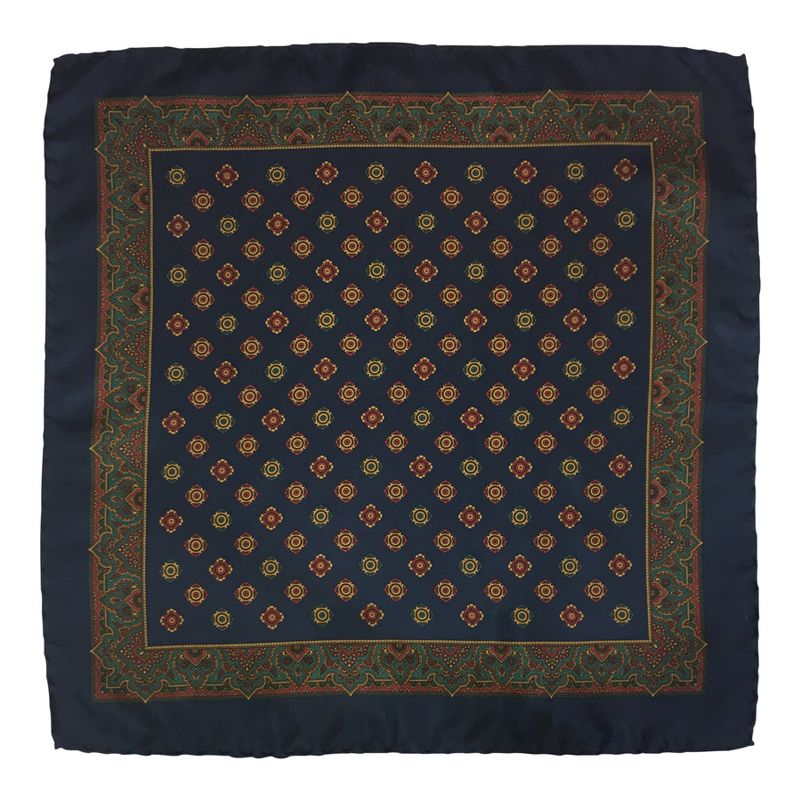 Grand Vintage Silk Pocket Square in blue