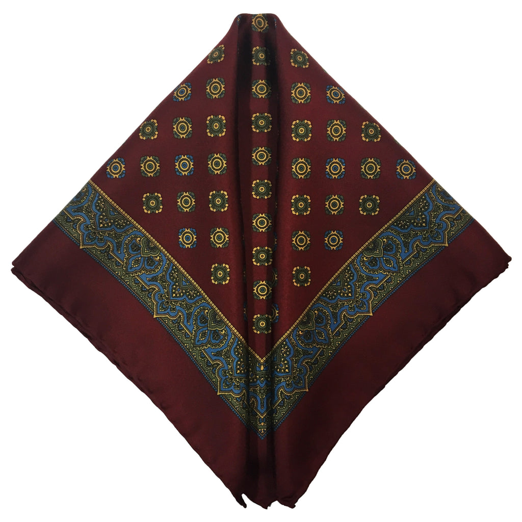 Grand Vintage Silk Pocket Square in Burgundy