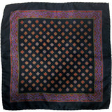 Grand Vintage Silk Pocket Square in Dark Blue