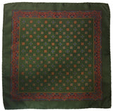 Grand Vintage Silk Pocket Square in Seaweed Green