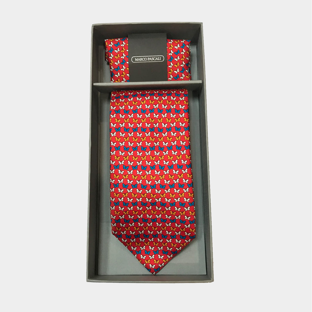 Butterflies in Red Tie & Pocket Square Set
