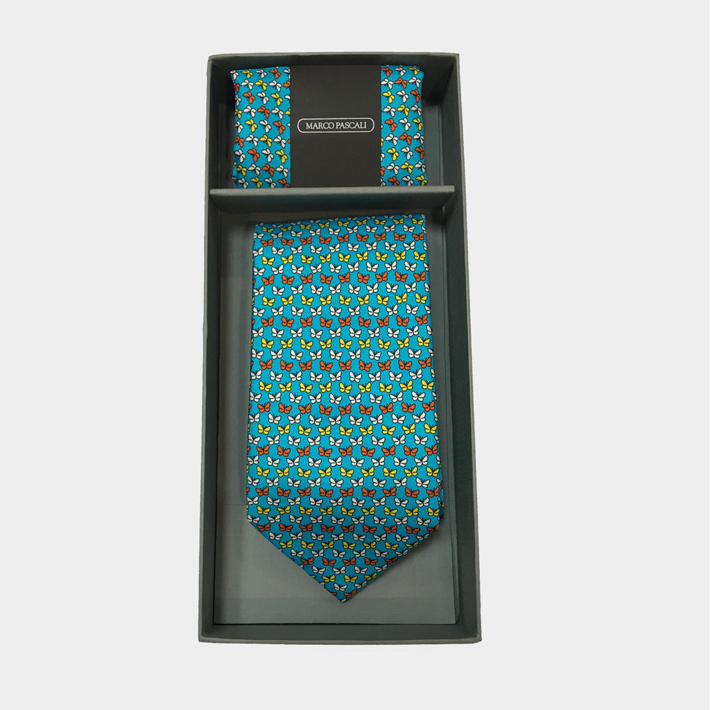 Butterflies in Sky blue Tie & Pocket Square Set