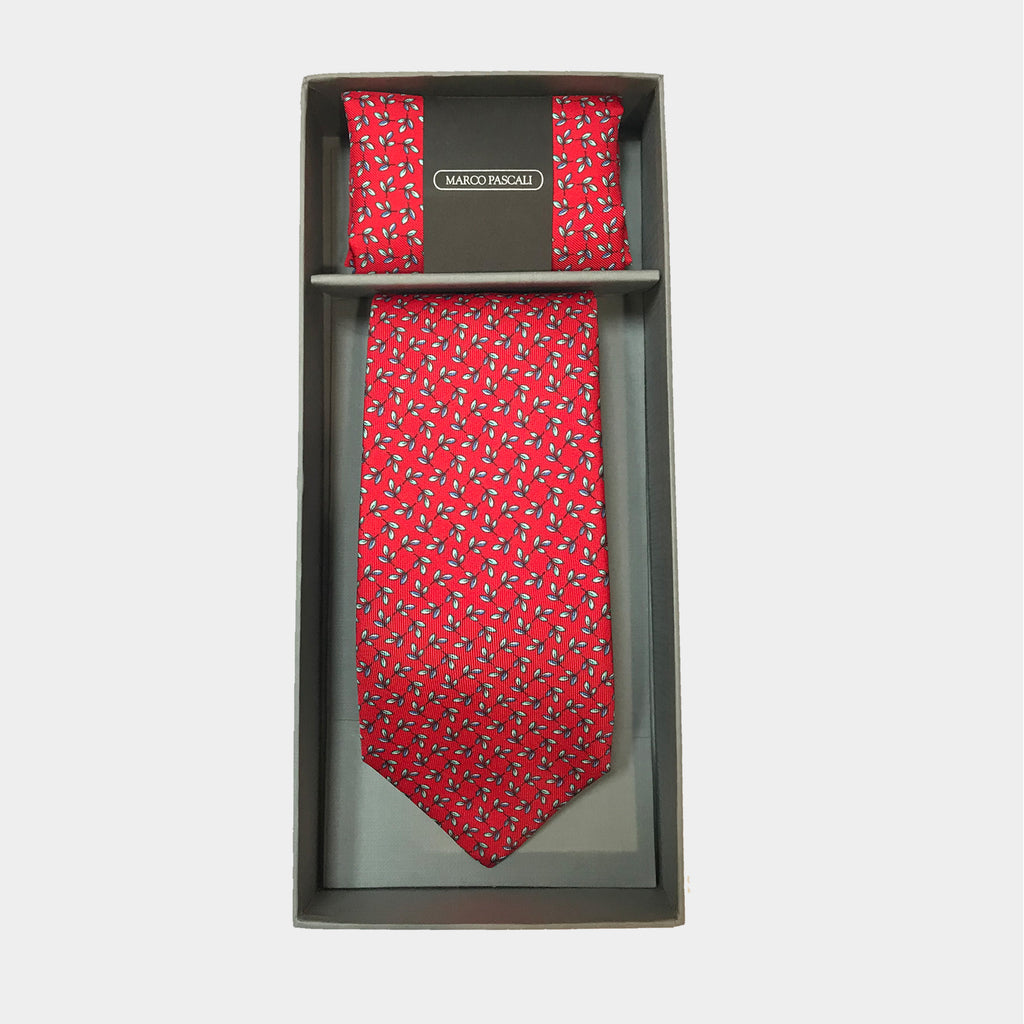 Olive Leaves in Red Tie & Pocket Square Set