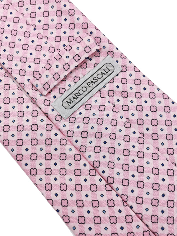 Rounded Cross Pattern Pink tie