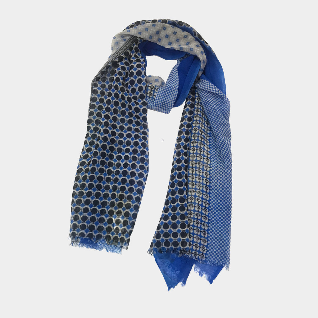 Squares & Dots Scarf in Blue