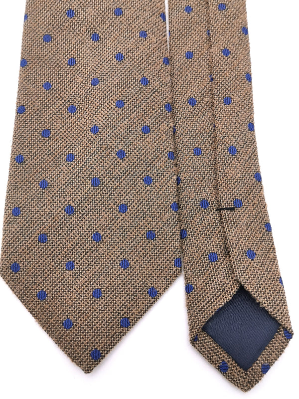 Blue Polka dots in Peanut Brown