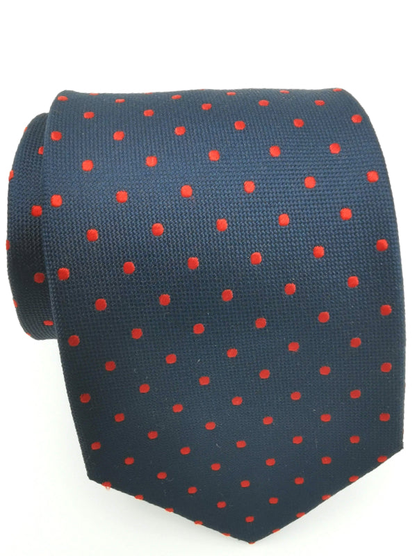 Red Polka Dots in Navy
