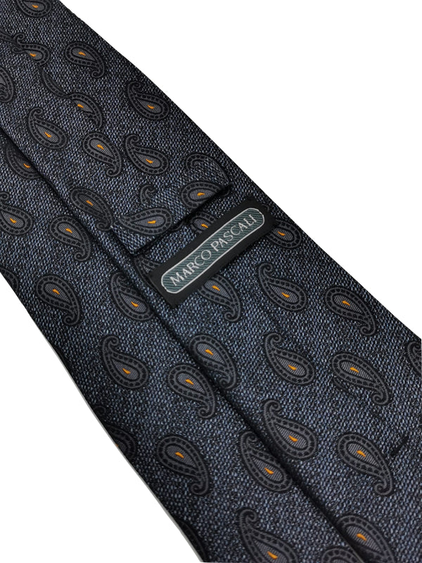 Grey Denim Paisley tie keeper loop