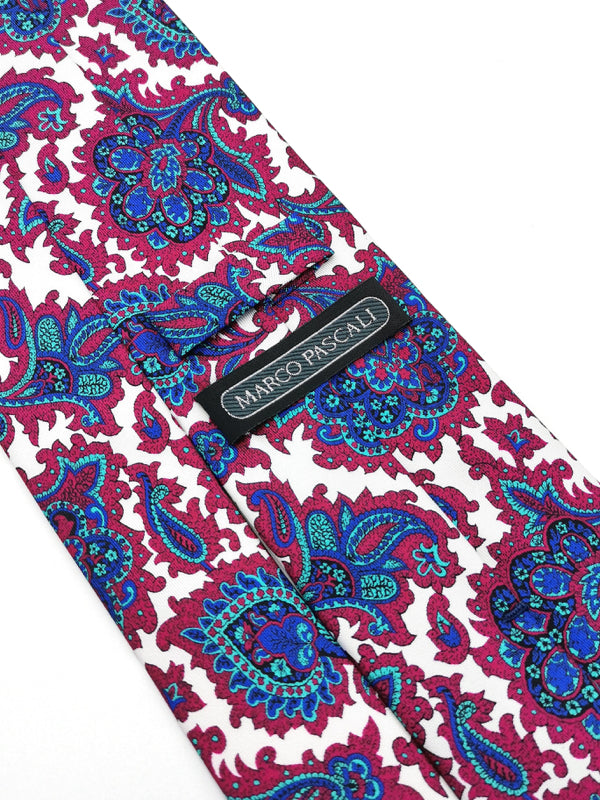 White Royal Paisley tie keeper loop