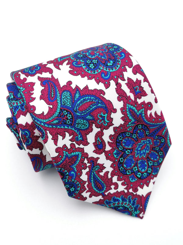 Rolled White Royal Paisley tie