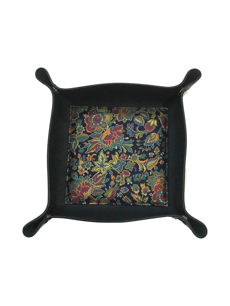 Floral Pattern Silk & Leather Valet Tray