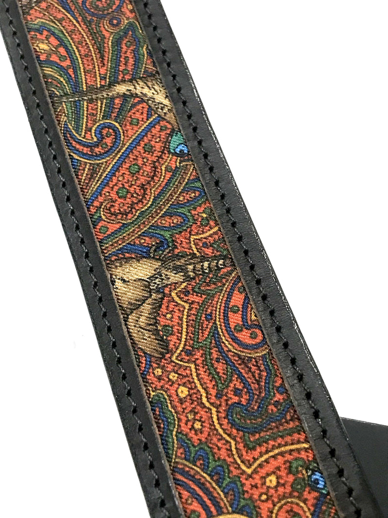 Pheasants in Paisley Black Leather Belt