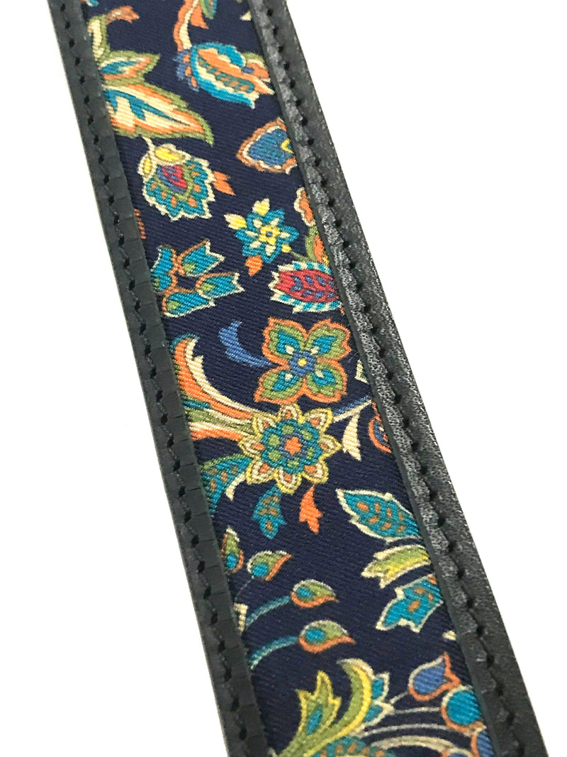 Floral Pattern Black Leather Belt