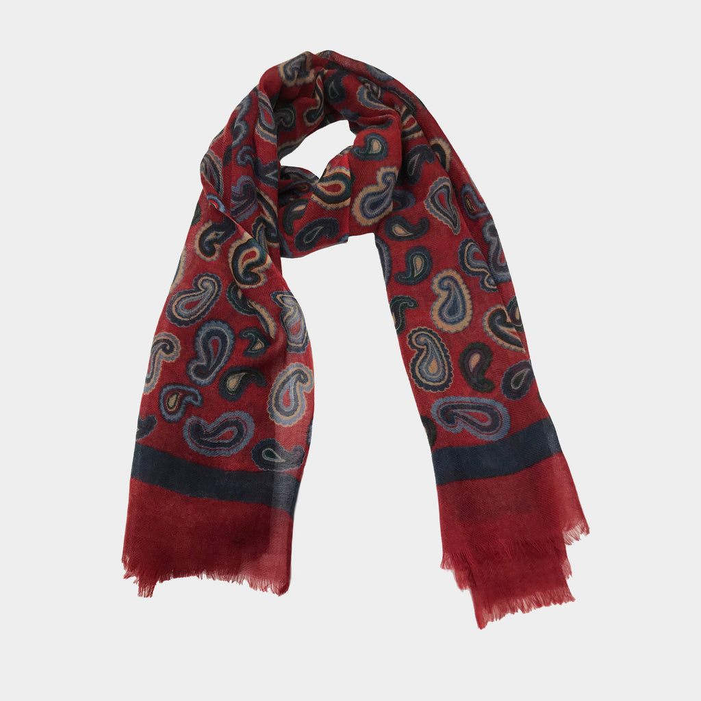 Hand Printed Red Scarf with Colored Paisleys