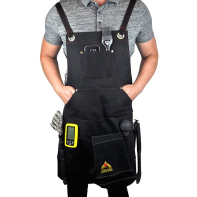 BBQ Cooking Apron with Heavy-Duty Waxed Canvas & Adjustable Straps