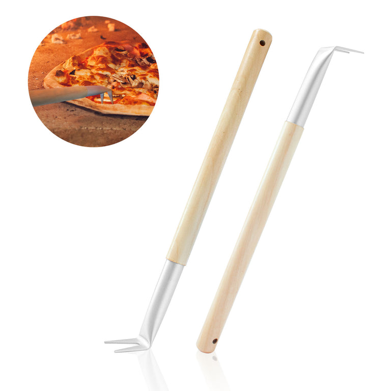Aluminum 17.5 inch Pizza Spinner Turning Fork with Wooden Handle and Leather Strap (2-Pack)