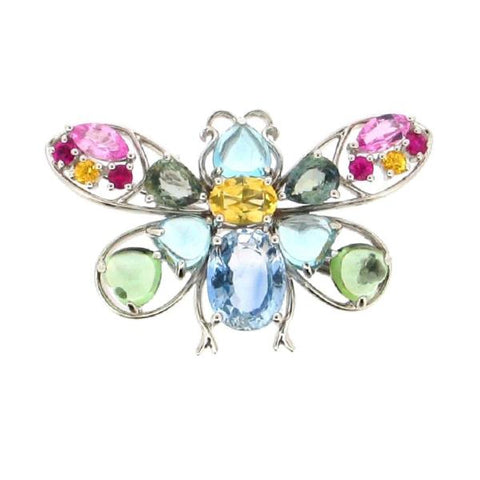 18K White Gold Multi-Gemstone Brooch/Pendant | 18K 白金多宝石吊坠/扣針