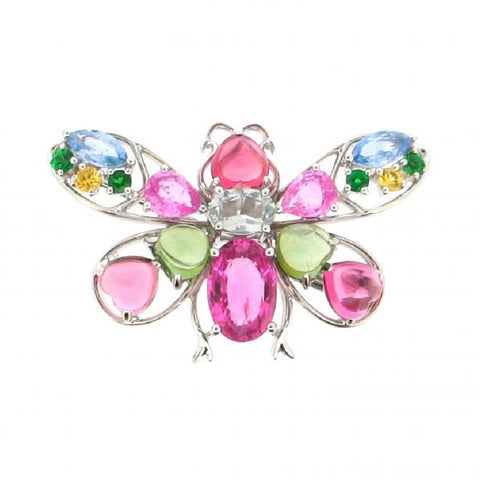 18K White Gold Multi-Gemstone Brooch/Pendant