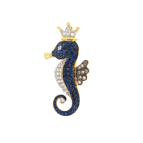 18K Yellow Gold Diamond & Brown Diamond & Blue Sapphire Brooch/Pendant | 18K 黄金钻石及褐色钻石及蓝宝石扣针/吊坠
