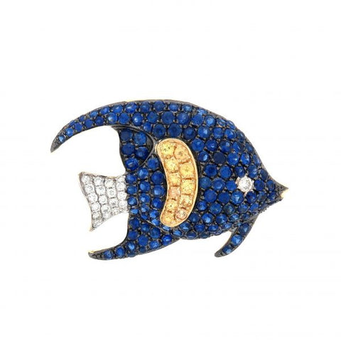 18K Yellow Gold Diamond & Yellow Sapphire & Blue Sapphire Brooch/Pendant