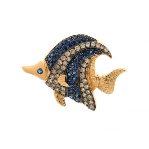 18K Yellow Gold Brown Diamond & Blue Sapphire Brooch/Pendant