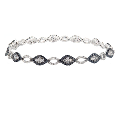 18K White Gold Diamond & Black Diamond Bracelet | 18K 白金钻石及黑钻石手链