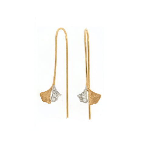 18K White & Yellow Gold Diamond Earrings | 18K 白金及黃金钻石耳环