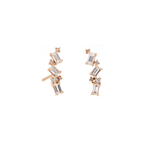 18K Rose Gold Diamond Earrings | 18K 玫瑰金钻石耳钉