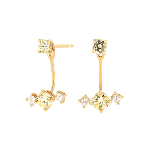 18K Yellow Gold Diamond Earrings | 18K 黃金钻石耳钉