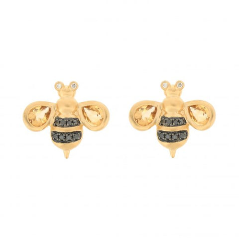 18K Yellow Gold Diamond & Black Diamond & Citrine Earrings