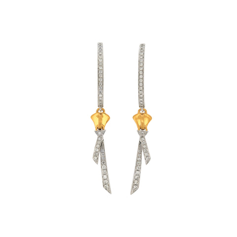 18K White & Yellow Gold Diamond Earrings | 18K 白金及黃金钻石耳钉