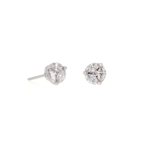 18K White Gold Diamond Earrings | 18K 白金钻石耳钉