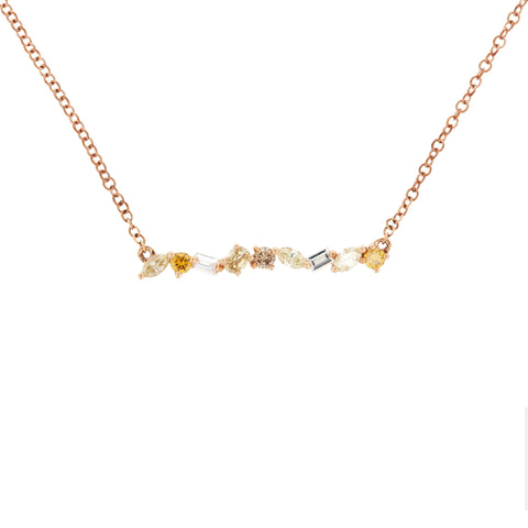 18K Rose Gold Fancy Diamond Necklace | 18K 玫瑰金彩钻项链