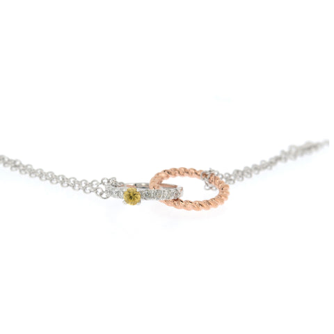 18K Rose & White Gold Diamond & Yellow Sapphire Necklace | 18K 玫瑰金及白金钻石及黄宝石项链