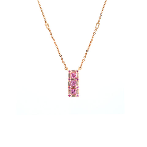 18K Rose Gold Diamond & Pink Sapphire Necklace | 18K 玫瑰金粉紅宝石及钻石项链